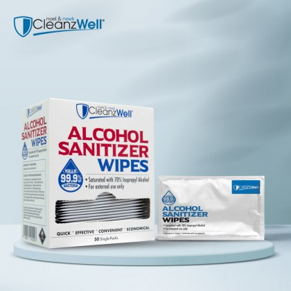 CLEANZWELL Alcohol Wipes 50pcs Single Pack