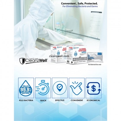 CLEANZWELL 70% Alcohol Sanitizer Wipes Single Pack 50pcs TWIN BOX Free 1 Hand Sanitizer Spray 50ml
