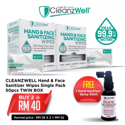 CLEANZWELL Hand & Face Sanitizer Wipes Single Pack 50pcs TWIN BOX Free 1 Hand Sanitizer Spray 50ml