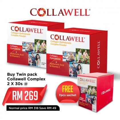 COLLAWELL Collagen Hydrolysate Complex Powder 30s Twin Pack FREE 7 sachets
